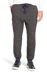 Michael Stars Cargo Jogger Pants With Knee Patches Black Heather Grey