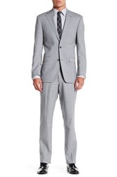 Ike Behar Grey Sharkskin Two Button Notch Lapel Wool Suit Gray