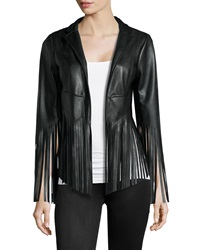 Vakko Faux Leather Fringe Jacket Black