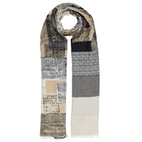 John Lewis Abstract Squares Cotton Scarf Beige Multi