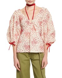 Rosie Assoulin Raindrops Embroidered Balloon Sleeve Top Red