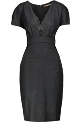 Roberto Cavalli Lace Trimmed Wool Blend Dress Charcoal