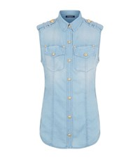 Balmain Sleeveless Denim Shirt Female Blue