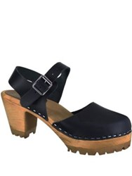 Mia Abba Leather Clogs Navy Blue