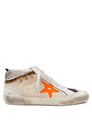 Golden Goose Mid Star Canvas And Leather Trainers White Black