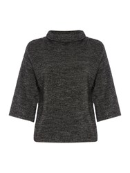 Crea Concept Textured Half Sleeve High Neck Jumper Black