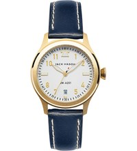 Jack Mason Jm A201 004 Aviation Yellow Gold Plated Stainless Steel And Leather Watch