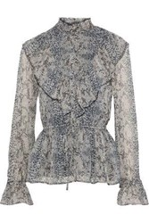 Walter Baker Woman Nubia Ruffled Printed Georgette Blouse Anthracite
