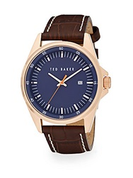 Ted Baker Round Stainless Steel And Leather Watch Navy Brown