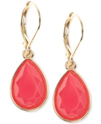 Nine West Gold Tone Coral Stone Drop Earrings