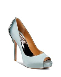 Badgley Mischka Peep Toe Platform Evening Pumps Kiara High Heel Blue Radiance