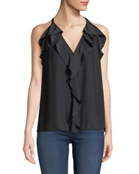 Ramy Brook Finley Sleeveless Ruffle Racerback Blouse Black