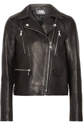 Karl Lagerfeld Ikonik Odina Leather Biker Jacket Black