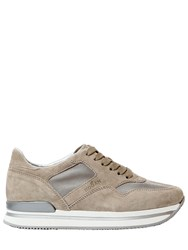 Hogan 50Mm H222 Suede And Fabric Sneakers Beige