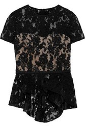 Reem Acra Woman Cotton Blend Corded Lace Peplum Top Black
