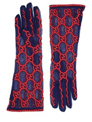 Gucci Gg Supreme Embroidered Tulle Gloves Blue Red