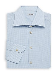 Kiton Classic Plaid Dress Shirt Blue