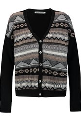 Autumn Cashmere Fair Isle Paneled Intarsia Knit Cardigan Black