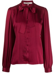 Jean Louis Scherrer Vintage 1980'S Pussybow Blouse Red