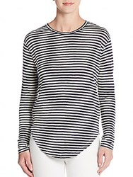 Rebecca Minkoff Libra Striped Linen Long Sleeve Tee Indigo Stripe