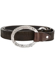 Eleventy Ribbed Belt Leather Brown