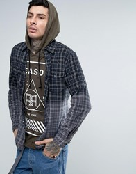 Reason Flannel Check Shirt In Dip Dye With Back Print And Raw Hem Black