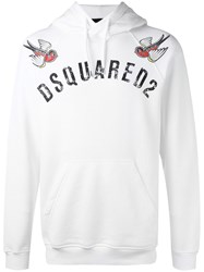 Dsquared2 Embroidered Bird Logo Hoodie White