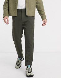 Weekday Mard Tapered Trousers In Khaki Green