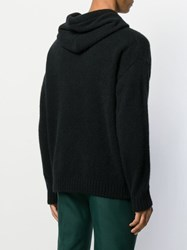 Laneus Knitted Long Sleeved Hoodie Black
