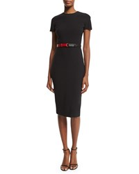Victoria Beckham Short Sleeve Belted T Shirt Dress Black