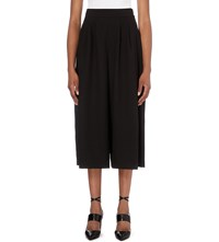 French Connection Wide Leg Cropped Crepe Trousers Black