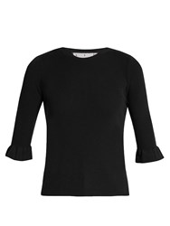 Red Valentino Fluted Cuff Cashmere And Silk Blend Top Black