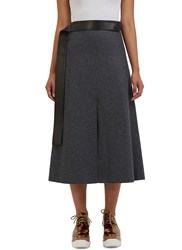 Calvin Klein Hovana Mid Length Wool Skirt Grey