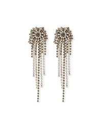 Dries Van Noten Starburst Crystal Chain Dangle Earrings White