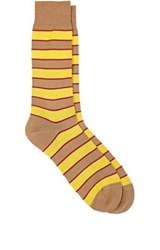 Richard James Men's Striped Mid Calf Socks Tan
