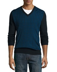 Michael Kors Houndstooth Wool V Neck Sweater Midnight