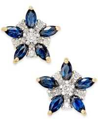 Macy's Sapphire 1 3 Ct. T.W. And Diamond 1 5 Ct. T.W. Flower Stud Earrings In 14K Gold Yellow Gold