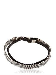 Title Of Work Braided Leather And Mesh Wrap Bracelet