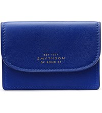 Smythson Connaught Leather Business And Credit Card Case Ocean Blue