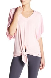 Pink Lotus Hooded Front Tie Pullover Pink