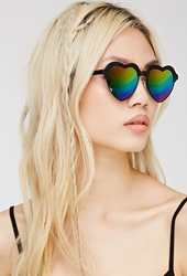Forever 21 Heart Shaped Sunglasses Black Rainbow