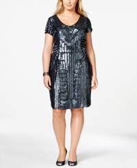 Adrianna Papell Plus Size Beaded Sequin Sheath Dress