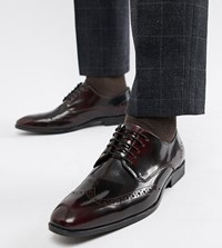 Asos Design Wide Fit Brogue Shoes In Burgundy Leather Red
