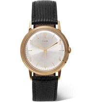 Timex Marlin 34Mm Gold Tone And Textured Leather Watch Black