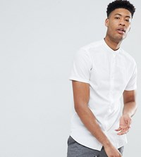 Selected Homme Short Sleeve Linen Shirt With Grandad Collar Bright White