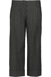 Michael Kors Collection Pleated Wool Blend Wide Leg Culottes Charcoal