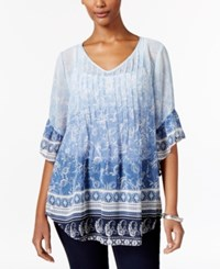 Styleandco. Style Co. Petite Mixed Print Pintucked Blouse Only At Macy's Ophelia Ombre