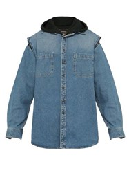 Balenciaga Double Layer Hooded Denim Jacket Light Blue