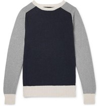 Howlin' Colour Block Lambswool And Cotton Blend Sweater Navy