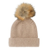 Whistles Alpaca Mix Knitted Hat Beige